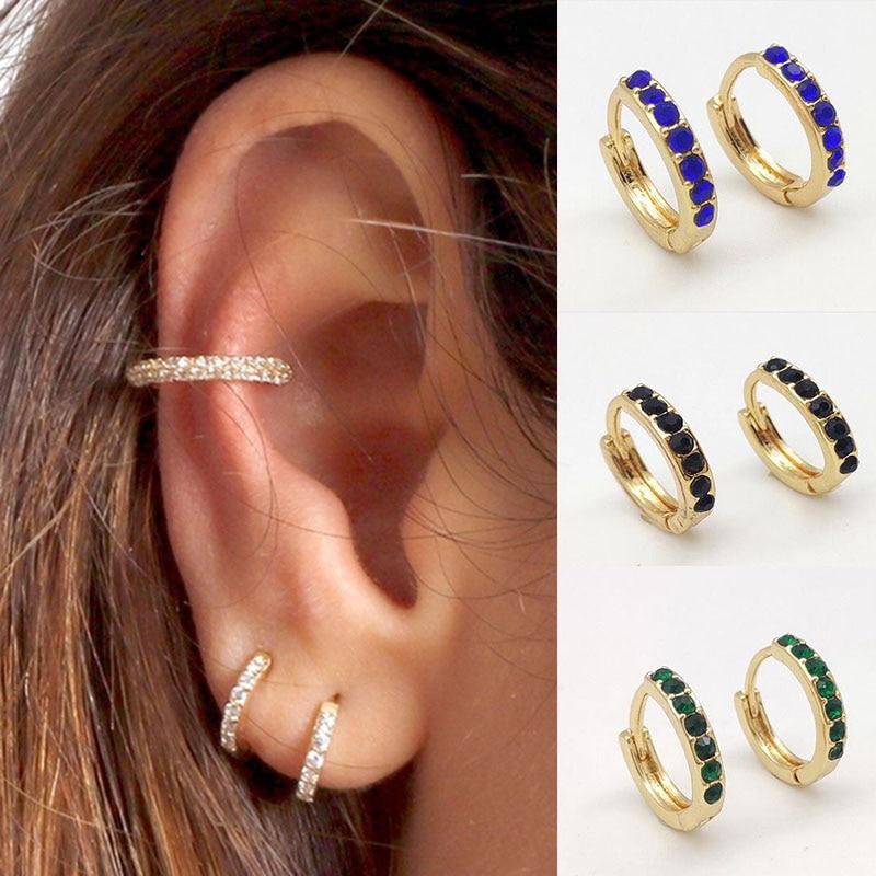 RANJUNXUN Shiny Round Circle Earrings, Colorful Crystal Rhinestone Accessories, Female Jewelry, New Year Gift