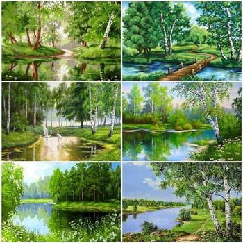 Pintura AZQSD para adultos con números, paisaje Natural DIY, arte de pared sin marco, colorear por números, imagen de bosque para decoración de sala de estar