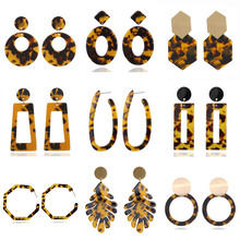 VAGZEB Bohemia Acrylic Resin Drop Earrings for Women Leopard Print Round Dangle Earrings Boho Fashion Female Jewelry hocole new fashion acrylic round drop earrings for women fashion jewelry leopard print resin geometric hanging dangle earring za