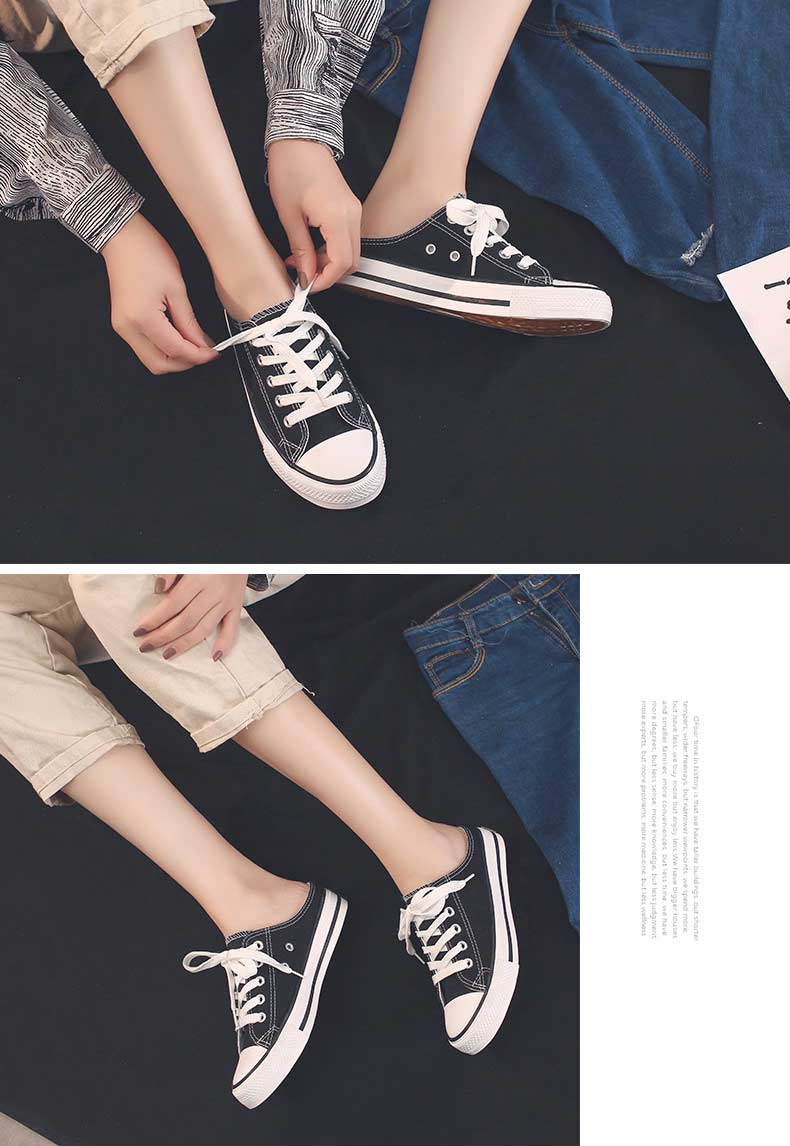 Casual half-drag canvas shoes woman 2019 new fashion solid sneakers women vulcanized shoes lace-up no heel lazy shoes flats (5)
