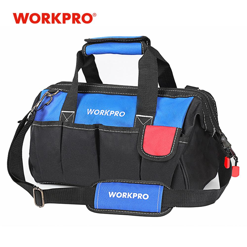 WORKPRO 14 Inch Tool Kit Bags Waterproof Storage Bags Shoulder Bag With Tool Belt Electrician Tools