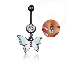 Rhinestones Body Jewelry Butterfly Navel Belly Button Ring Umbilical Nail Piercing Fashion Women
