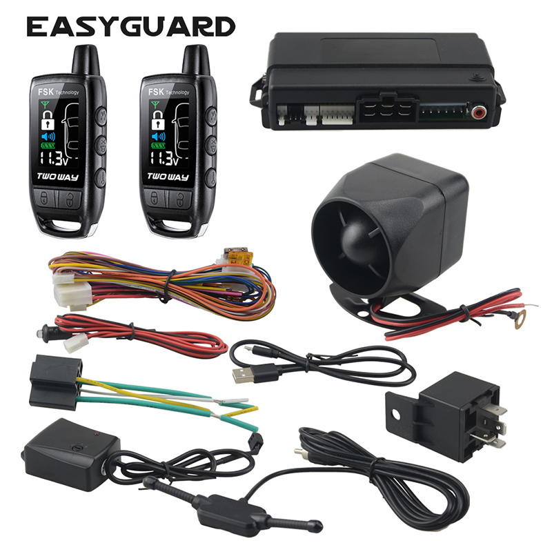 EASYGUARD 2 way car alarm rechargeable remote lcd pager display alarm universal car keyless entry system 868Mhz DC12V