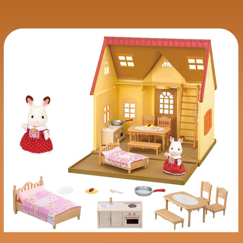 Forest Family Villa 1:12 Furniture Set Toy DIY Miniatura Dollhouse Play House Toys Bed Sets Mini Doll House Miniatures Toys Gift