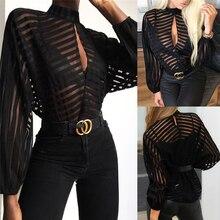 Женская сетчатая прозрачная блузка с длинным рукавом, женская рубашка, черные открытые сексуальные топы спереди, женская одежда, летние женские блузки