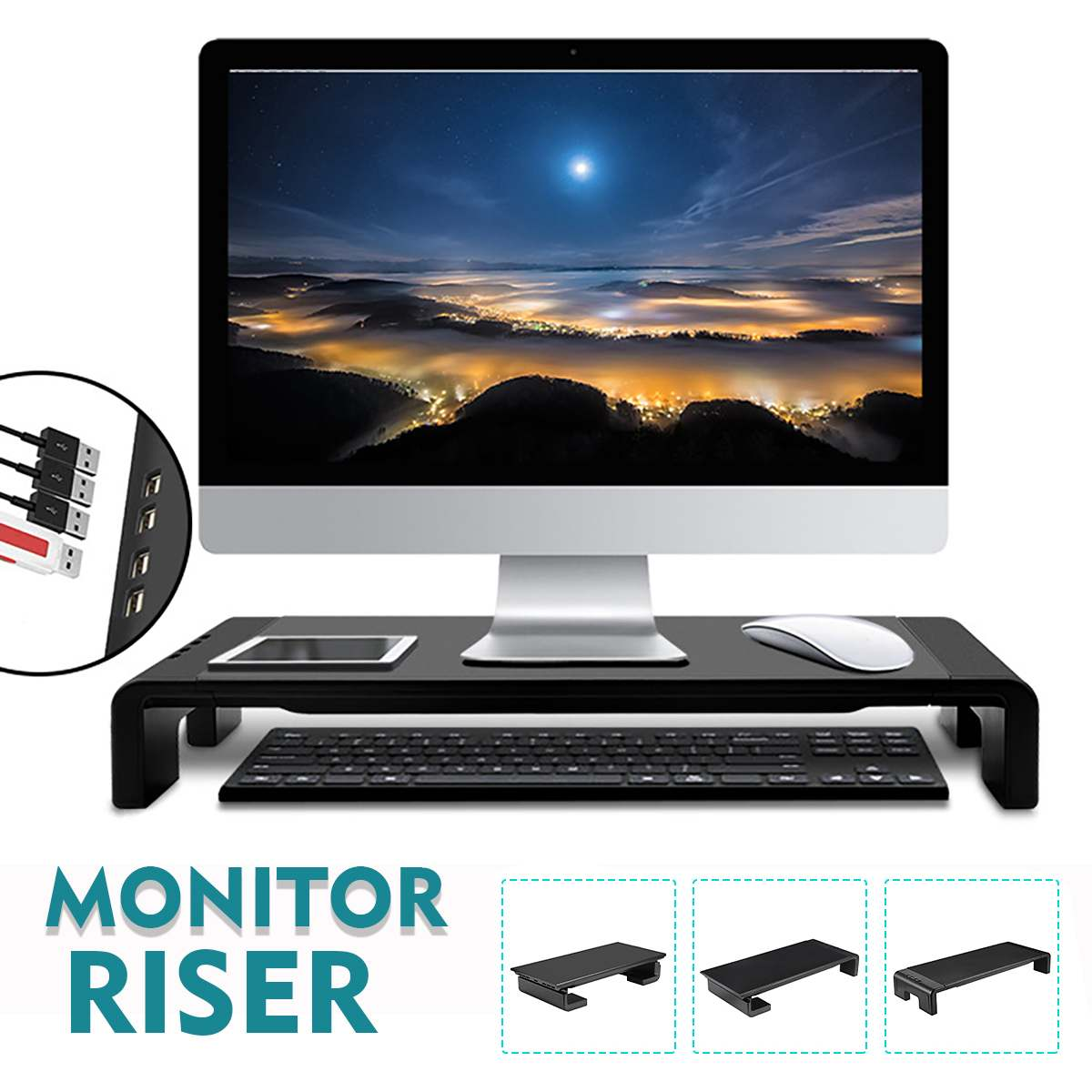 4 USB 2.0 Ports Smart Monitor Riser Multifunction Desktop Computer Screen Shelf Stand Laptop Desk Holder Accessories TV Stand 1