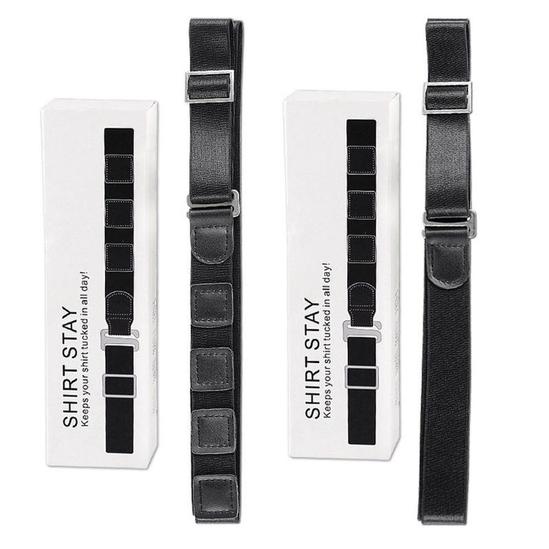 THINKTHENDO Men Shirt Stay Holder Black Lock Belt Adjsutable Elastc Non-Slip Wrinkle Bandage