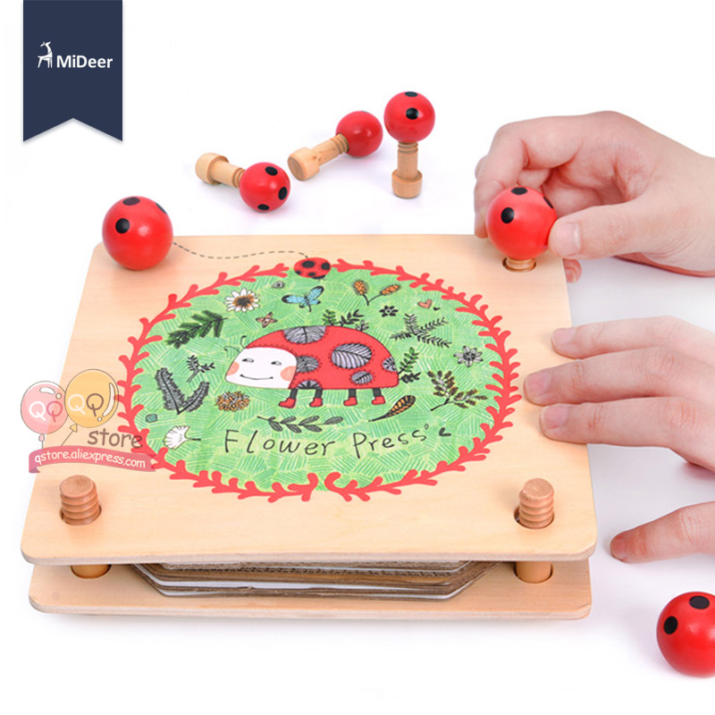 Mideer Kids Flower And Leaf Press Nature Craft Happy Time Wooden