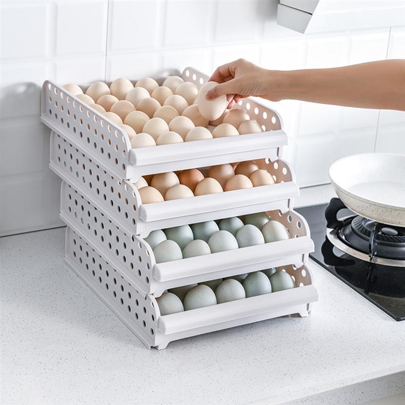 Boîte de stockage d'oeufs empilable de 4 couches 30 grilles récipient de stockage d'oeufs plateau d'oeufs de grande capacité en plastique pour le réfrigérateur de cuisine à la maison