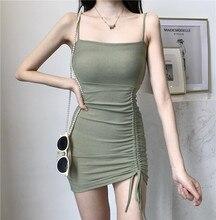 Женское платье, новинка 2020 года, Ранняя осень, облегающая юбка на бретелях-спагетти, соблазнительная юбка с завязками, подходящая ко всему