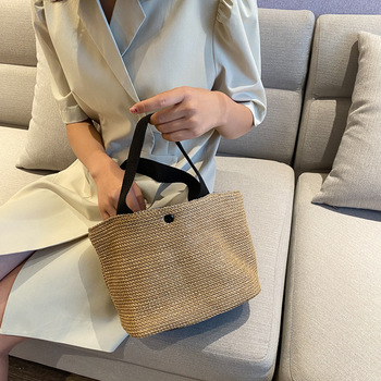 Leisure Straw Bags Bucket Bag Rattan Handmade Summer Woven Beach Ladies Shoulder Bohemia Girls Travel Handbags