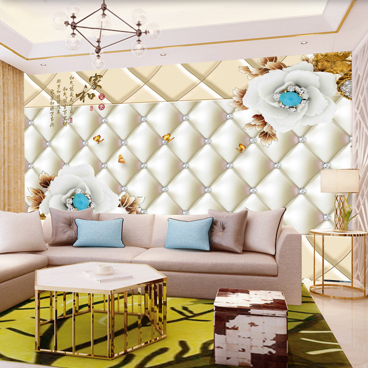 European Soft Roll Seamless Mural Home And Flower Living Room Bedroom TV Backdrop Wall Wallpaper Sofa 3D Wallpaper