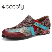 Loafers SOCOFY Flat Buckle Outdoor-Shoes Retro-Style Women Flower Ethnic Zip Casual Embossed-Pattern