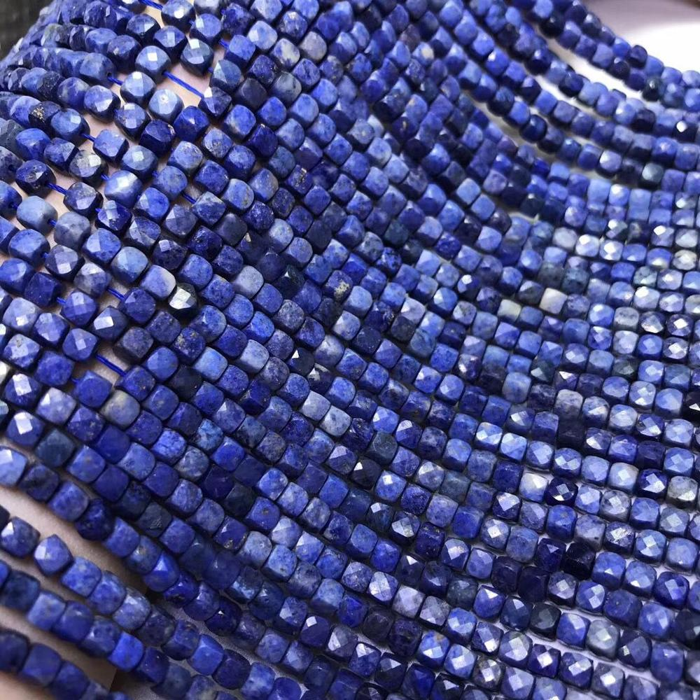 AAA/AAAA Sapphire Loose Beads Blue Square Faceted 4-4.5mm Nature  For Making Jewelry Necklace 14inch FPPJ Wholesale
