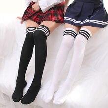 新セクシーなマスコミ黒白のストライプ靴下女性のオーバー膝腿高膝レディースガールズ暖かい膝靴下