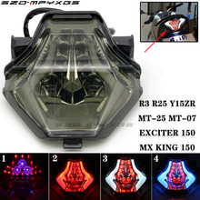 Applicable for Yamaha R3 R25 MT07 MT-07 MT-25 rear tail light LED running flash stop brake flash tail light turn signal flash цена