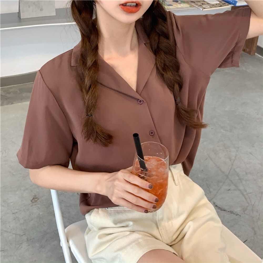 Bluzlar kadınlar 11 renkler tatlı basit Vintage kısa kollu yaz moda bayan Blusas en Ins tek göğüslü yumuşak bayan gömlek