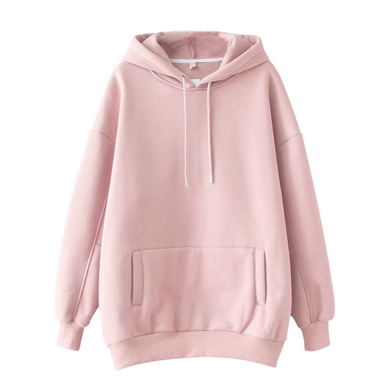 Повседневные однотонные теплые пуловеры толстовки свитшоты Женская