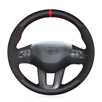 Red Marker Black Genuine Leather Anti-slip  Car Steering Wheel Cover for Kia Sportage 3 2011-2015 Ceed Cee'd 2010