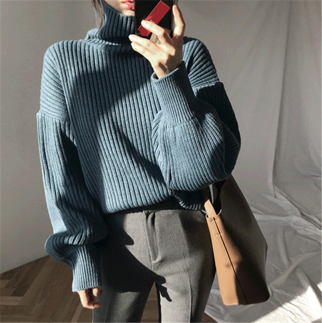 Ailegogo New 2020 Women Pullovers Sweater Knitted Autumn Winter Thick Warm Turtleneck Lantern Sleeve Casual  Loose Tops 6