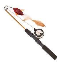 Форма рыбы телескопические перья кошачья палка игрушки для домашних