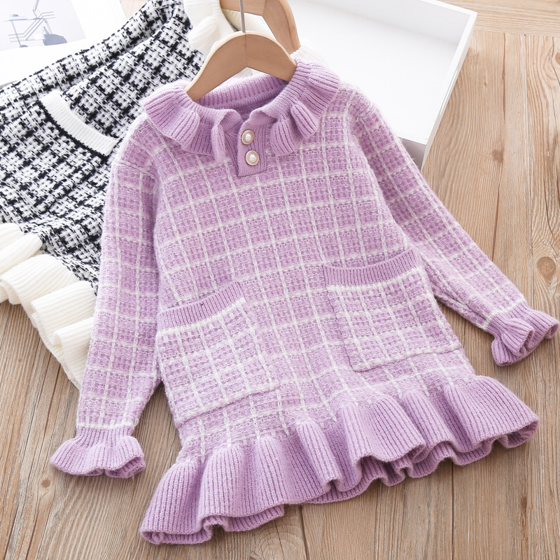 Baby Girls Knitted Dress Sweater shirt Infant Toddler Girl Pullover Child Warm Clothes Undershirts For Winter Autumn Dresses 3