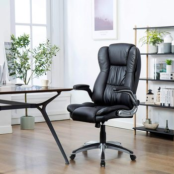 High-Back Leather Office Chair, Ergonomic Executive Office Chair with Arms Adjustable&Swivel Desk Chair Computer Chair, Black giantex pu leather ergonomic office chair armchair executive chair boss lift chair swivel chair office furniture hw50391
