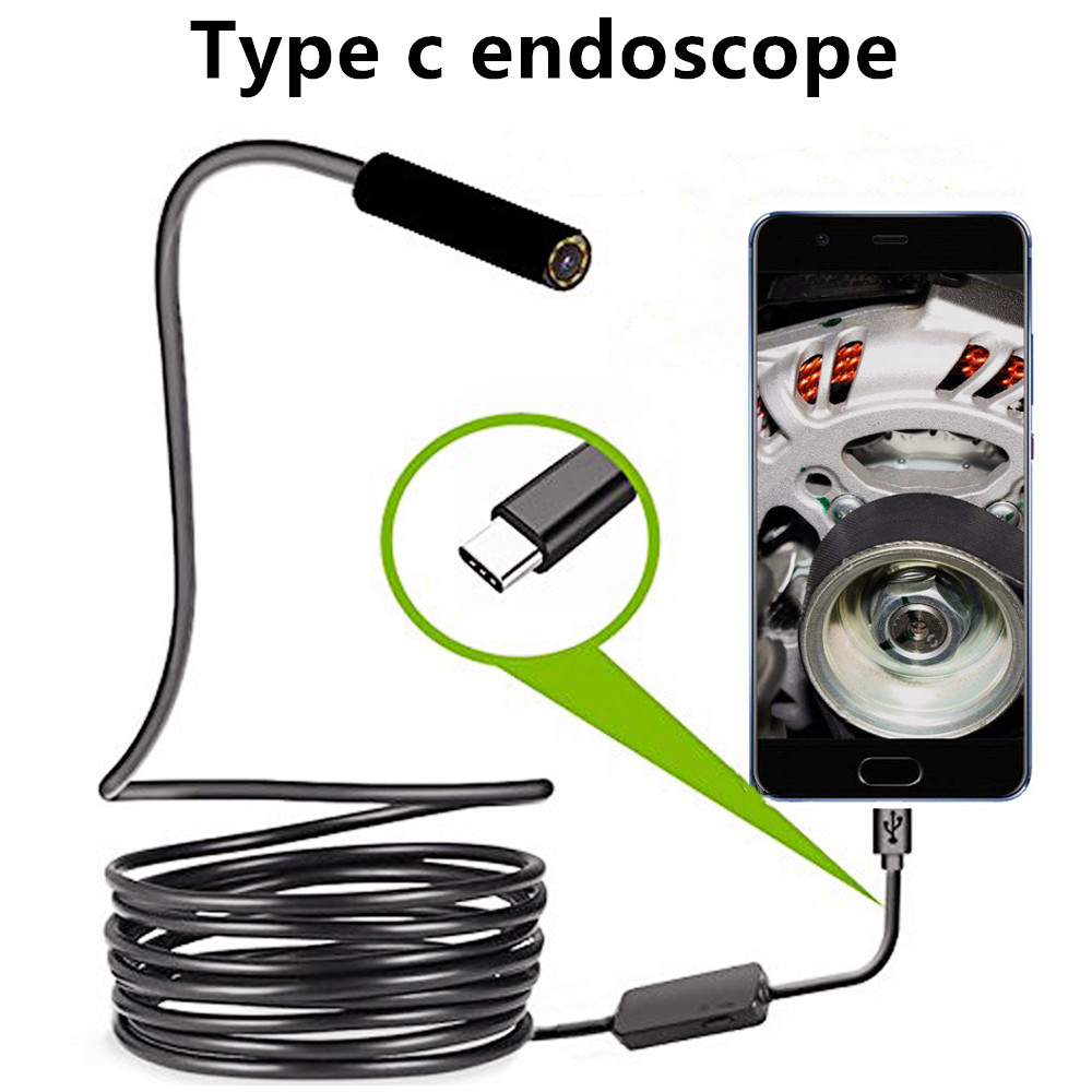 Type-C Endoscope 5.5mm USB Inspection Borescope Camera 1/1.5m Flexible Pipe Car 480P Repairfor Android PC Notebook Macbook