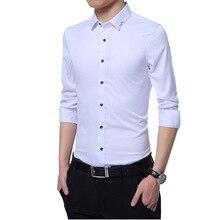 Мода деловая Мужская рубашка новая брендовая приталенная однотонная универсальная рубашка мужская с длинным рукавом простая выпускная смокинг блузка Homme