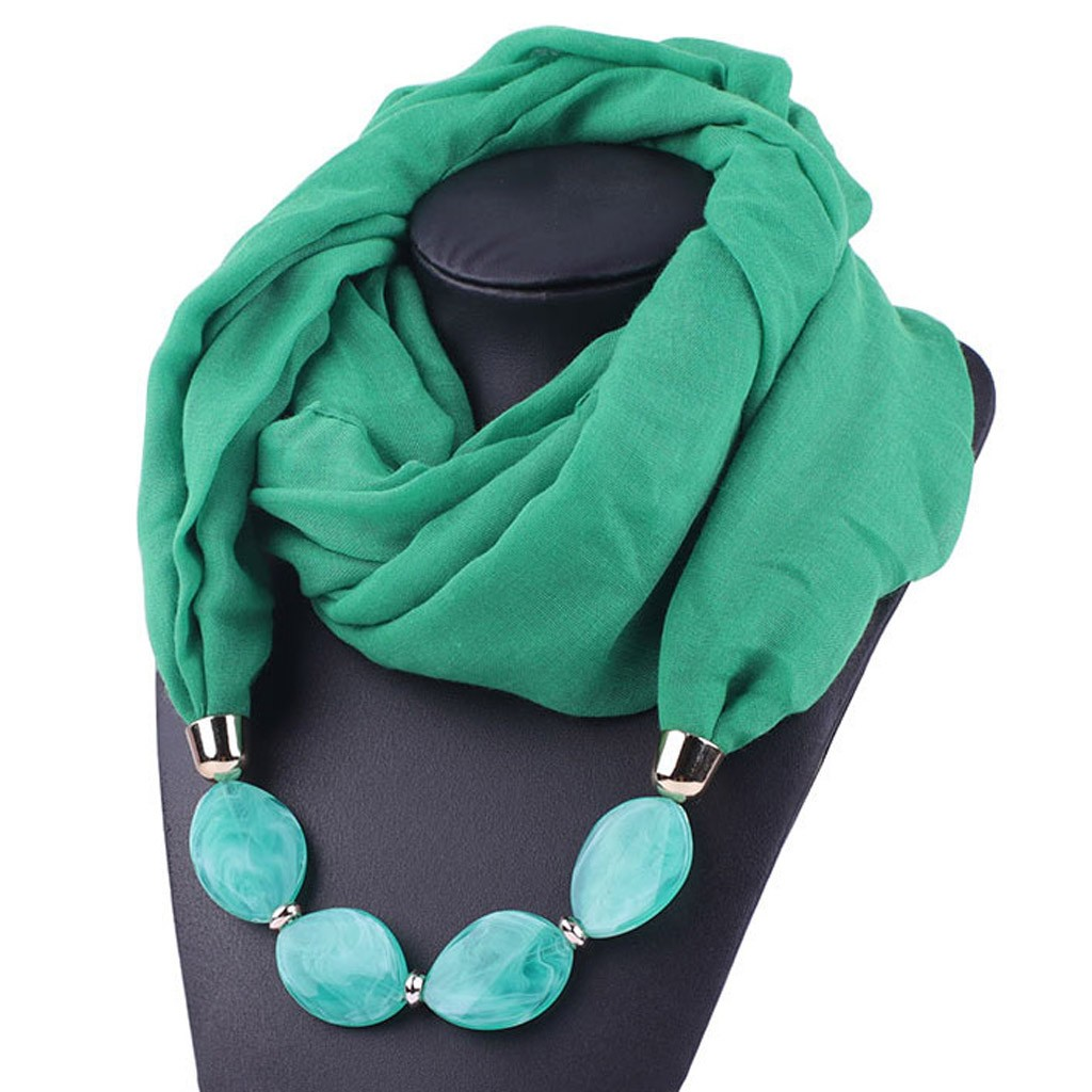 Women Necklace Scarf Cotton Linen Necklace Ethnic Soft Scarf Fashion Women Shawl Jewel Scarf Accessories