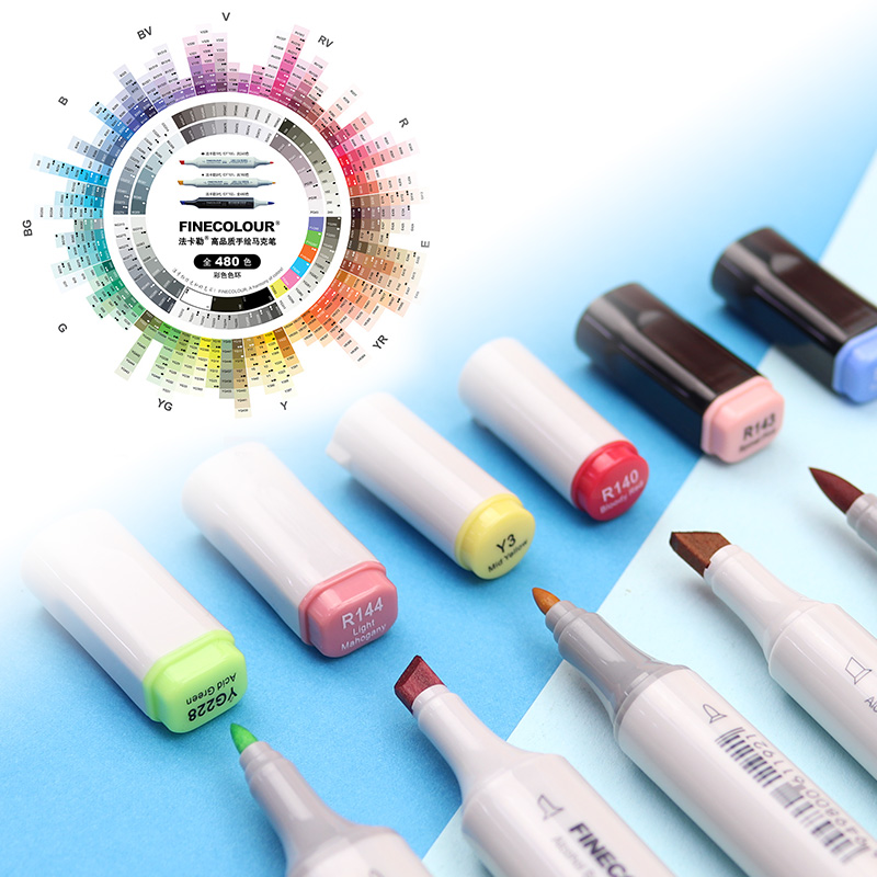 FINECOLOUR Art Markers Brush Pen EF100/EF101/EF102 240/160/480 Colors Drawing Alcohol Based Markers Dual Head Anime Art Supplies