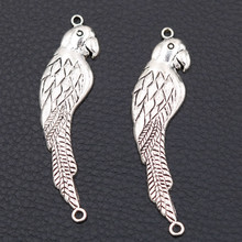Cute Bird Connector Sliced Parrot Charms Pet Pendant Tibetan Silver Charm DIY Gift For Animal lovers 52*15mm A510 10pcs