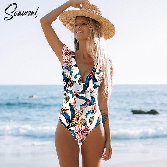 Sexy One Piece 2020 Swimsuit Push Up Swimwear Women Ruffle Monokini Adjustable Shoulder Swimsuit Bodysuit Bathing Suit Swim Wear 1