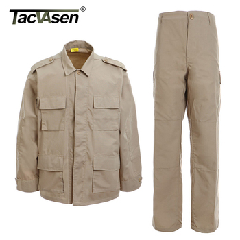 TACVASEN BDU Camouflage Tactical Uniforms Men Rip-stop Assault Army Combat Suit Sets Airsoft Paintball Military Clothing Sets 1