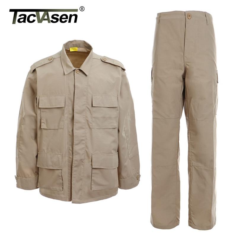 TACVASEN BDU camuflaje táctico uniformes hombres Rip-stop asalto ejército combate conjunto Airsoft Paintball militar conjuntos de ropa