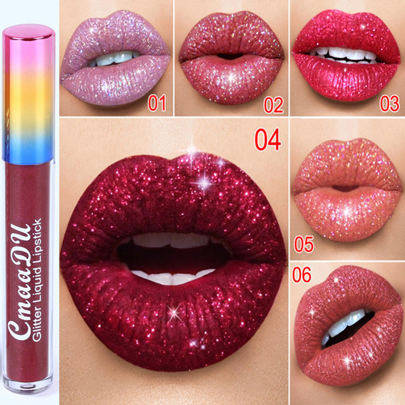 Women Makeup <font><b>Lipstick</b></font> Glitter Lips Make Up <font><b>Liquid</b></font> <font><b>Lipstick</b></font> <font><b>Waterproof</b></font> Long Lasting Shimmer Beauty Women <font><b>Lipsticks</b></font> Mouth Makeup image
