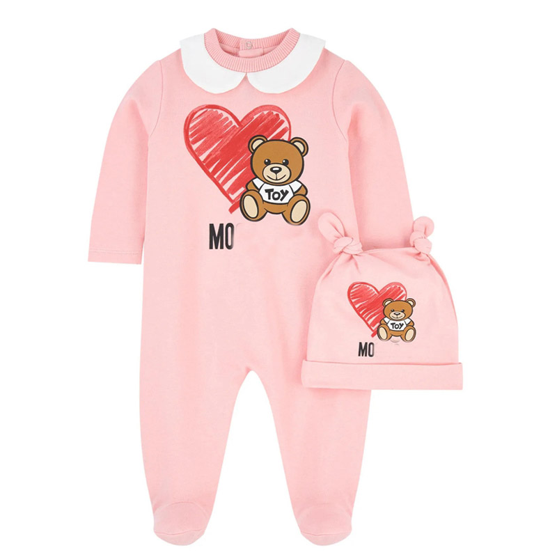 High Quality Newborn Baby Clothes Baby Girl Clothes Infant Boys Jumpsuit +Hat 2 Piece Clothing Set  Baby Cartoon Bear Rompers