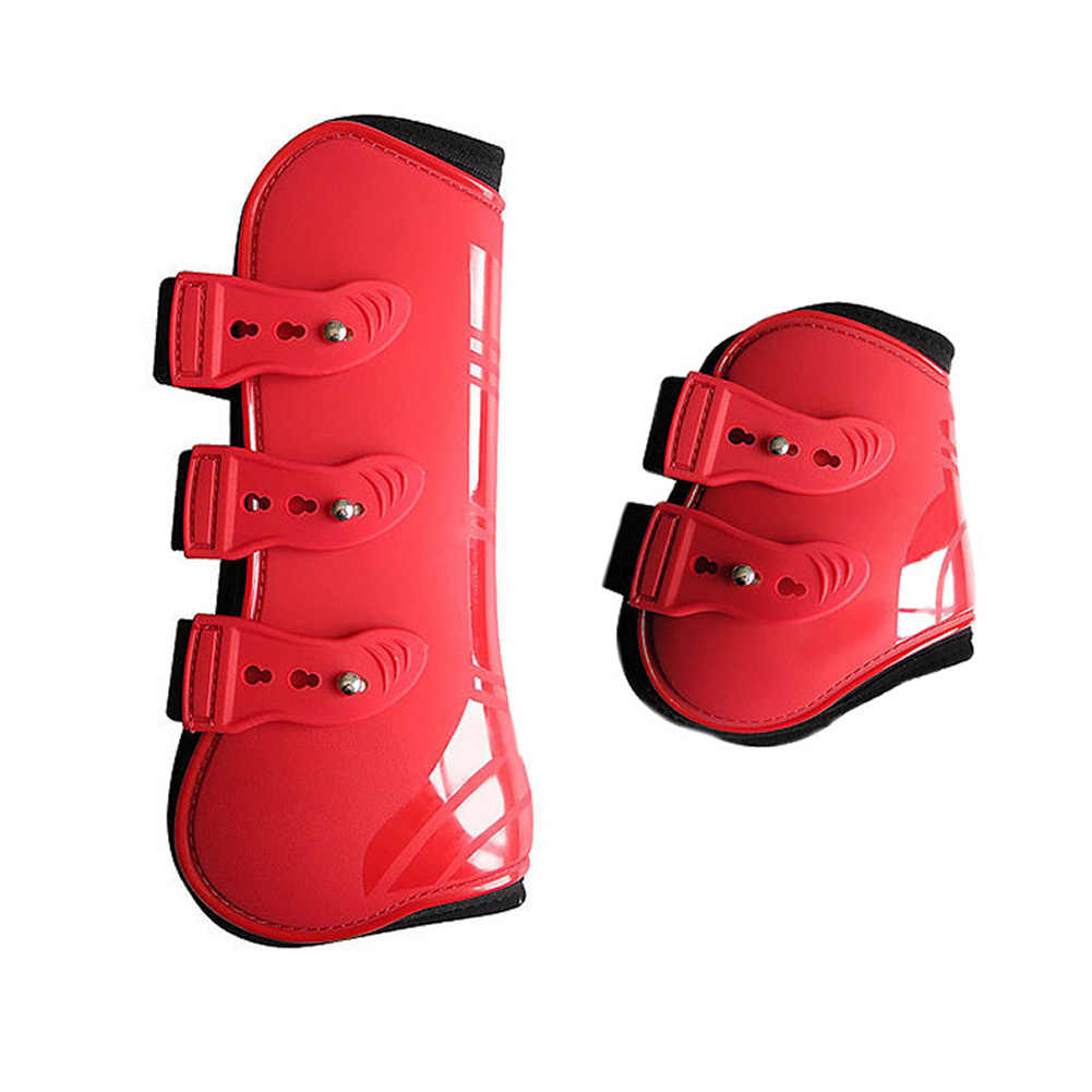 Açık çiftlik binicilik at bacak botları eğitim ön arka ayarlanabilir Brace PU deri koruma dayanıklı sürme koruma şal