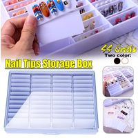 Fake Nail Tips Storage Box 44 Compartments Nails Art Decoration Container Display Case Black/white Acrylic Nail Art Display Box