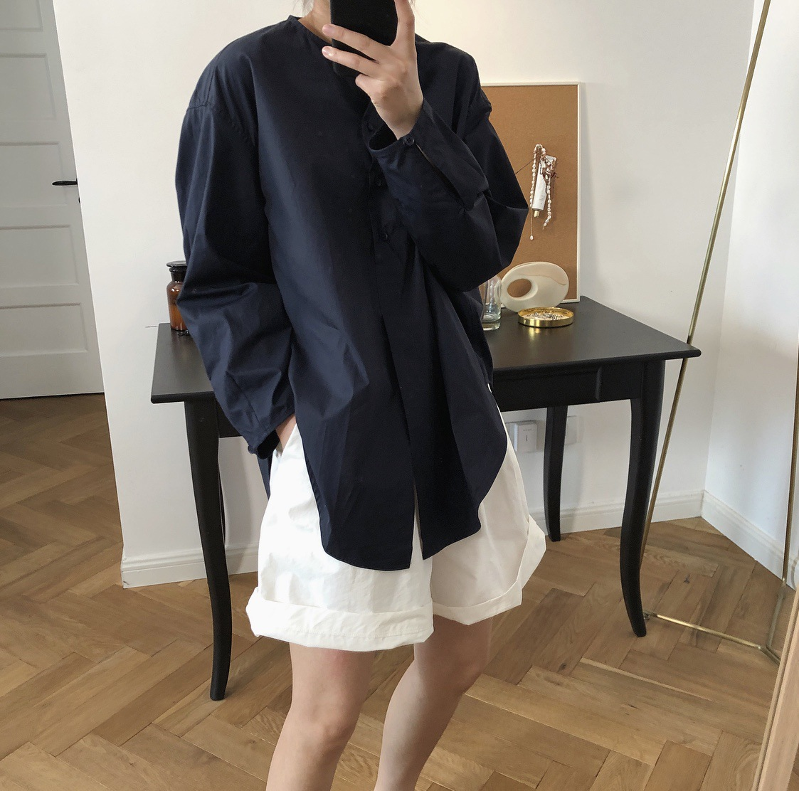 Autumn 2019 New Korean Lazy Simple High quality Shirt Round Neck Loose Joker Long Sleeve Blouse Women Two Colors Women Shirts in Blouses amp Shirts from Women 39 s Clothing