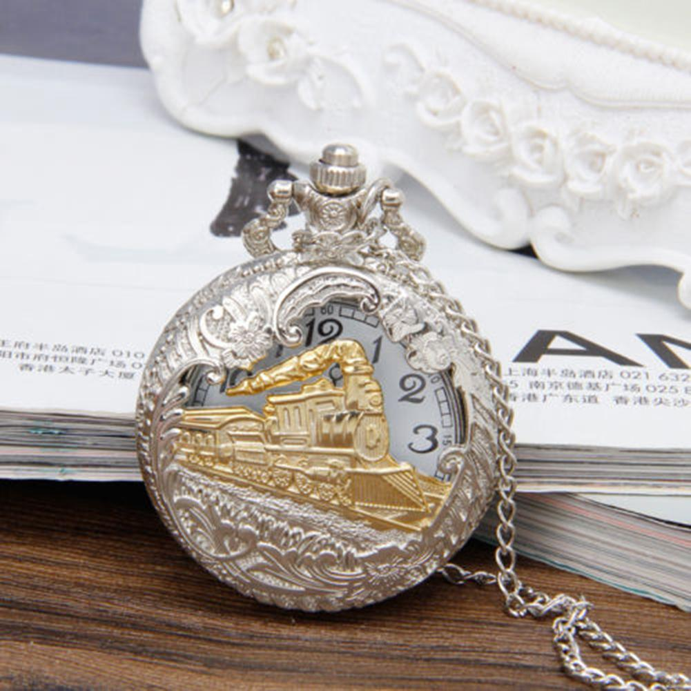Women Men Pocket Watch Vintage Steam Train Antique Chain Unisex Quartz Locomotive Pendant Pocket Necklace Watch Top Gifts
