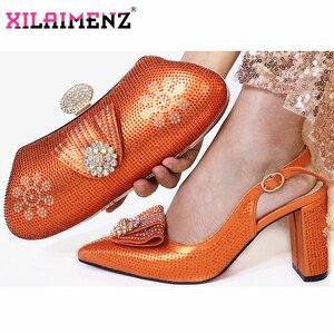 Image 1 - Arancione di Colore di Nuovo Modo Elegante di Autunno Delle Donne Del Partito Scarpe E Borsa Set Per Il Partito Africano di Stile Sandali Tacco Alto E set borsa