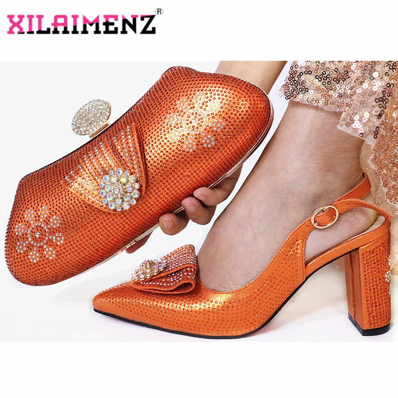 Orange Color New Fashion Elegant Autumn Women Party Shoes And Bag