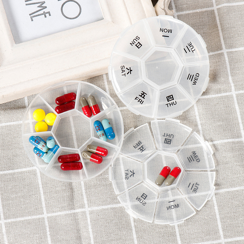 Portable 7-Day Round Medical Kits Round 7-Day Small Kits For Home Travel Storage Boxes Drug Separators Case Medical Organizers