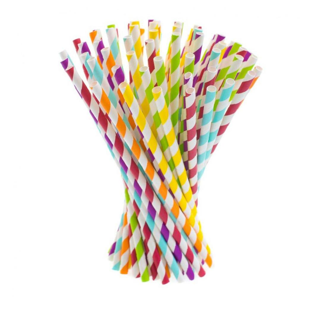 100 PCS Biodegradable Paper Straws Rainbow Stripe Paper Drinking Straws Disposable Bulk Paper Straws 10 Different Colors|Kitchen Gadget Sets| |  - title=