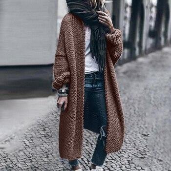 2019 Autumn Winter Women Long Cardigan Solid Loose Knit Cardigan Sweater Women Casual Cardigan Oversized Jacket Coat