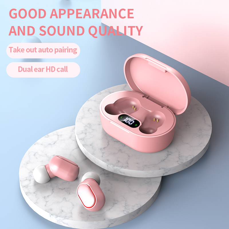 TWS Mini Bluetooth V5.0 Sport Earphones True Wireless Headphones 3D Stereo Sound Earbuds Dual Microphone Charging Box