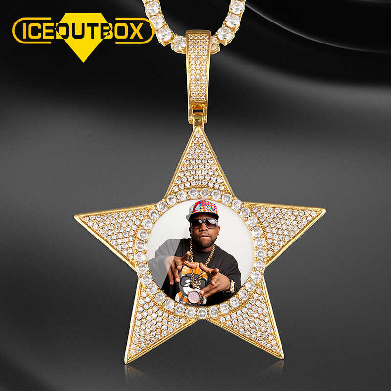 New Design Custom Picture Memory Medallions Solid Pendant Necklace 5 Coner Star Shape Hip Hop Jewelry Personalized Cubic Zircon