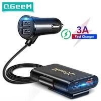 Carregador de carro usb qc 3.0 qgeem, carregador rápido para celular 3.0, adaptador para carregador portátil de carro com plug para iphone