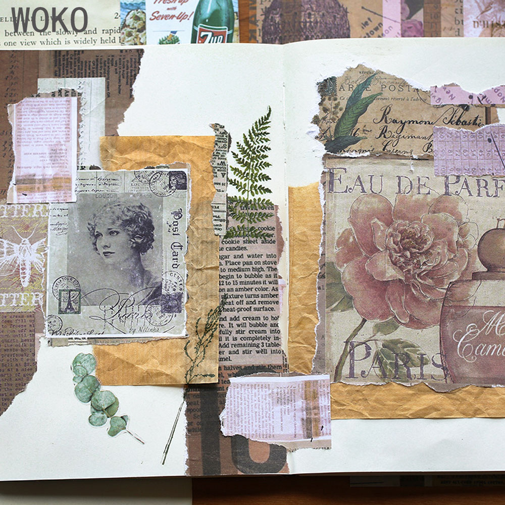 WOKO 12pcs Old Memories Retro European Pictorial Flower English Letter Old Book Page Collage Material Sticker DIY Scrapbooking